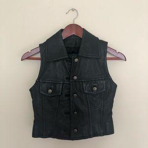 Danier Vintage Black Leather Vest